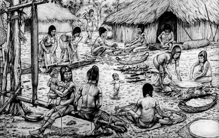 Dibujo sobre la población aborigen en la Isla. Imagen: Referencial.