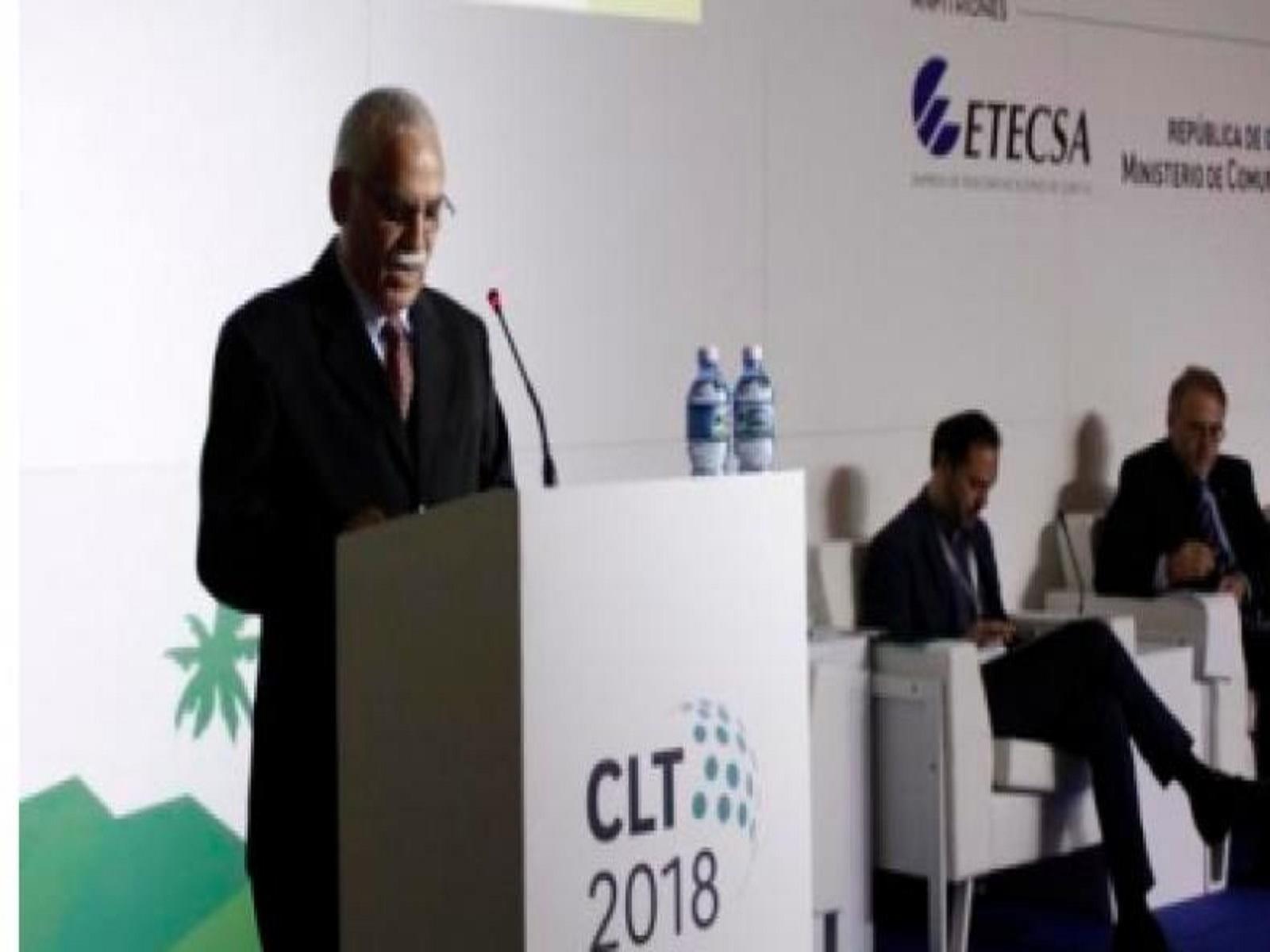 Intervención de Maimir Mesa Ramos (I), Ministro de Comunicaciones, en el Sexto Congreso Latinoamericano de Telecomunicaciones (CLT 2018, en el Hotel Meliá Marina Varadero, en Matanzas, Cuba, el 12 de junio de 2018. ACN FOTO/ Ariel LEY ROYERO