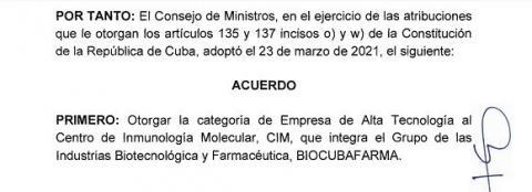 Otorga el Consejo de Ministros la categoría de Empresa de Alta Tecnología al Centro de Inmunología Molecular y a CITMATEL