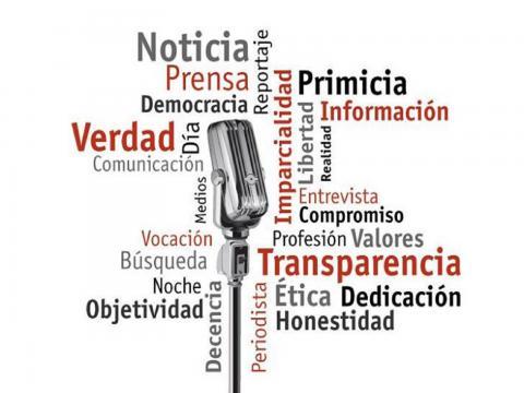 Banner alegórico al Día de la prensa cubana
